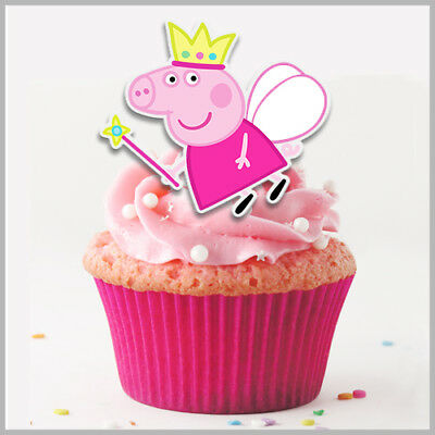 80x Peppa Pig + George Pig Mixed Cake Toppers Edible Rice Wafer Paper
