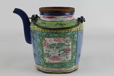 Old Chinese Yixing Polychrome Teapot With Mark On Bottom