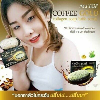 Best Of Coffee + Gold Collagen Body Soap Reduce Cellulite  With Luffa Soap