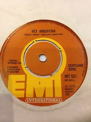 """SCOTLAND SONS - Hey Argentina 45 Record 7"""" 1978 World Cup"""