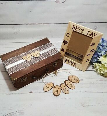 Rustic Wedding Card Box With Cards Banner and Custom Frame/ Envelope Box Wedding