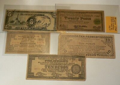 WWII Philippines Japanese Occupation Notes Pesos Guerilla Notes Lot of 5 #G7814