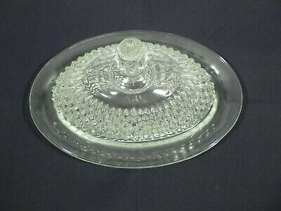 Vintage Glass butter dish & lid geometric diamond pattern formal wide style