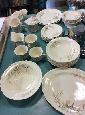 LARGE LOT OF 1930s EDWIN M. KNOWLES PUSSY WILLOW AND BIRCH  PATTERN CHINA
