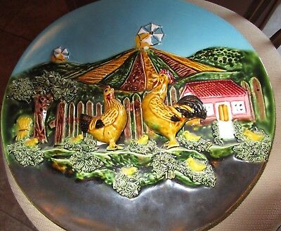 """Vintage Majolica Palissy Charger Chickens And Rooster 12"""" Diameter Portugal"""