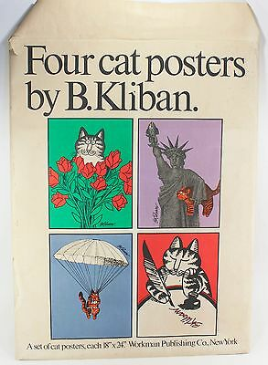 B Kliban 4 Cat Posters 18x24 Set Lot W Envelope Vintage 1970s Art Print 1979 !!!