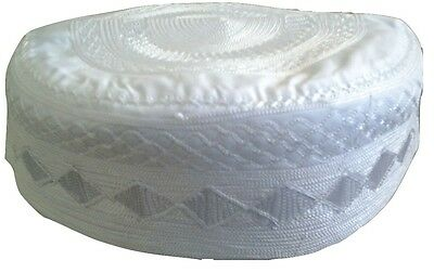 Islamic Prayer White Cap Hat Knit Kufi Skull Men's  22''