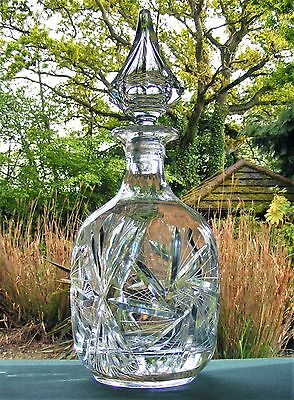 Bohemia Cut Glass Crystal Decanter - Pinwheel With Spire Stopper