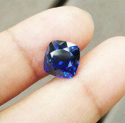 4.10 cts. 8x8mm  Cushion Cut Blue Sapphire Lab Corundum Excellent Cutting AAA+++