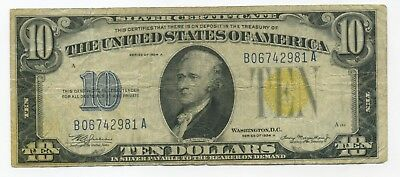 Series 1934-A $10 **North Africa  WW2** Silver Certificate Note