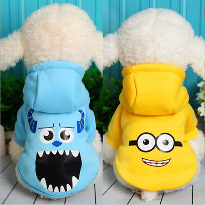 Minions Hoodie Jacket Dog Puppy Clothes for Small Dog Poodle Terrier Beagle XMAS