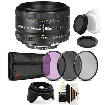 Nikon AF FX NIKKOR 50mm f/1.8D Lens for Nikon DSLR Cameras with Accessories