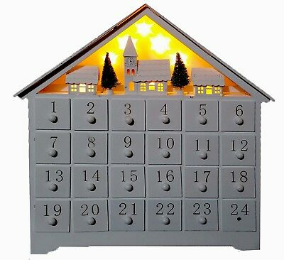 Wooden White Advent Calendar Christmas Decoration with Village Scene