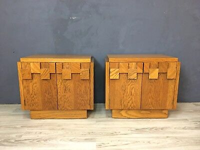 "Pair of Lane Brutalist ""Mosaic"" Pattern Oak Nightstands Side Tables"
