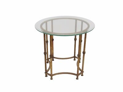 Vintage Gold Metal Faux Bamboo French Regency Accent Side Table Chinoiserie