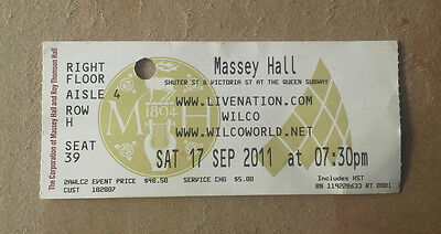 Wilco concert ticket Whole Love tour 2011 Toronto Jeff Tweedy. not vinyl RSD LP