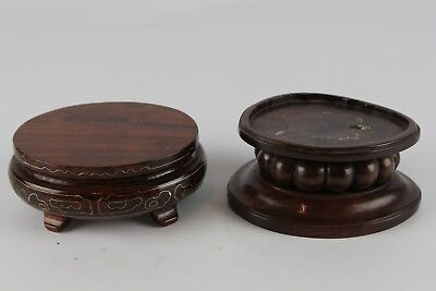Lot Of 2 Old Chinese Small Hard Wood Stand