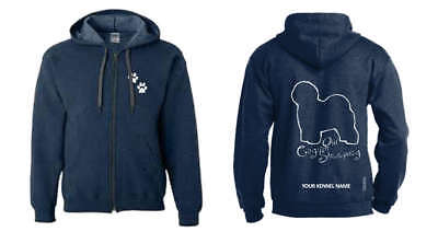 Old English Sheepdog Full Zipped Dog Breed Hoodie, Exclusive Dogeria Design,