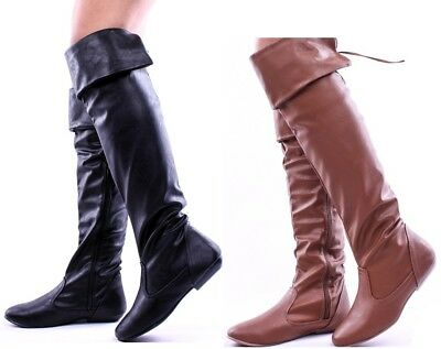 FAUX LEATHER FOLD DOWN OVER THE KNEE BOOTS #Tammy79
