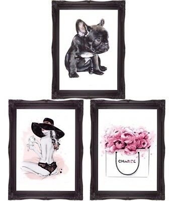 French Bulldog Art Girl With Hat Teacup Art Floral Bag 3 x A4 Prints Wall Art