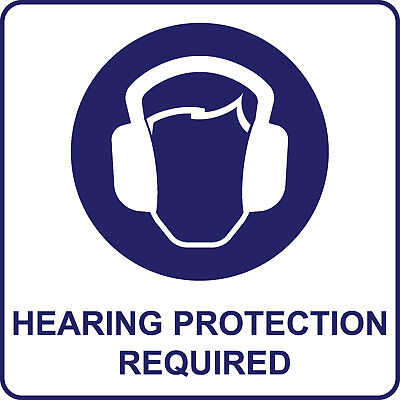 Safety Signs Decals - Hearing Protection Required Blue Printed 4x4'' set of 6