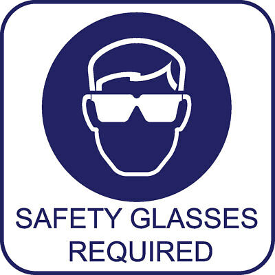 Safety Signs Decals - Safety Glasses Required Blue Printed 4x4'' set of 6