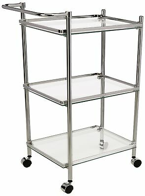 Rolling Serving Cart With Glass Shelves, Chrome Finish