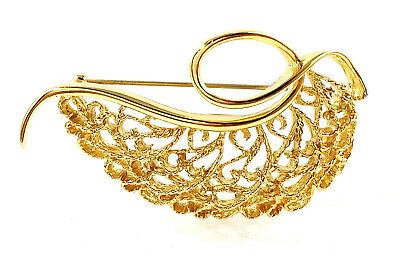 Vintage Monet Beautiful Textured Lacey Filigree Leaf Pin/Brooch  (Rare)