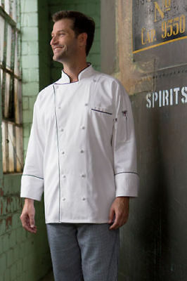 Uncommon Threads Provence white chef coat with black trim, XS to 6XL, 0442C