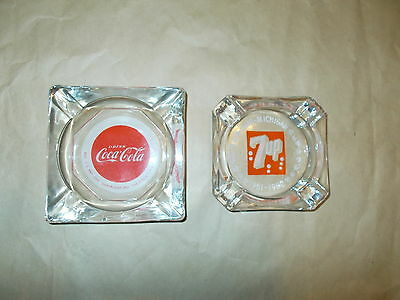 Vintage - 1951 - Coca-Cola and 1951 7 UP - Glass Ash Tray - Drink Coca-Cola NICE