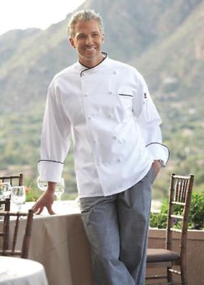 Uncommon Threads San Marco chef coat, White with Black piping, XS to 6XL, 0445C