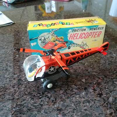 Toy Friction Powered Helicopter T.T. Japan Pressed Steel With Box 1950's Tin