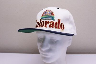 Vintage Colorado Rocky Mountains White Blue Red Snapback Hat New