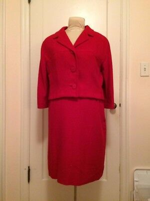 Excellent Condition Vintage 1960s Red Wool Suit