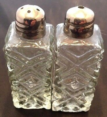 Antique Crystal Clear Textured Glass Salt & Pepper Shakers