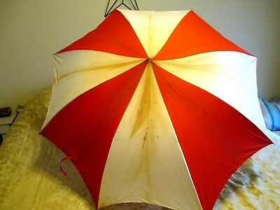Vintage Golf Umbrella Unbranded Wood Handle AS IS stained