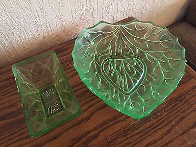 Two Green Glass Dishes