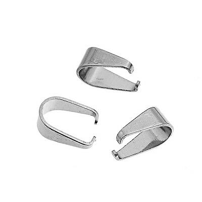 Silver Stainless Steel Spring Pinch Bails For Pendants - Multiple Sizes