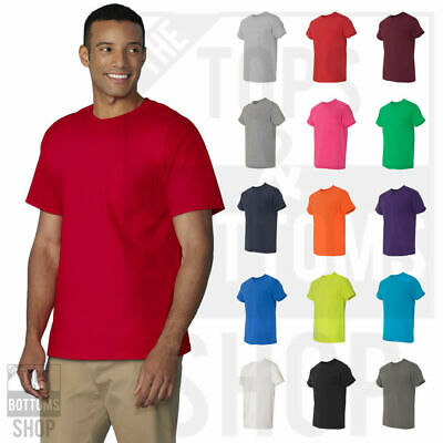 Gildan Mens Heavy Cotton T-Shirt with a Pocket Plain Pocket Tee S-3XL - 5300