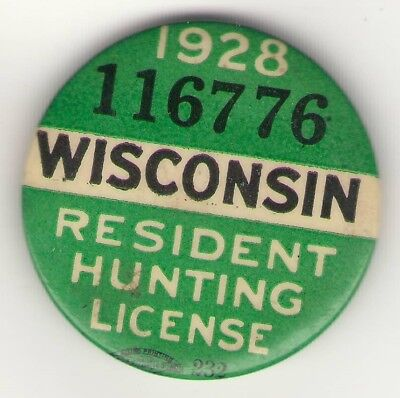 Wisconsin Resident Hunting License Pin 1928