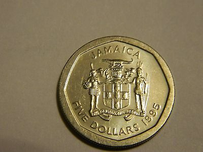 1995 Jamaica 5 Dollars About Uncirculated---Lot #1,860