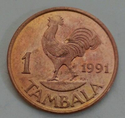 Malawi 1 Tambala 1991. One cent coin. Rooster. Animals. Bird.