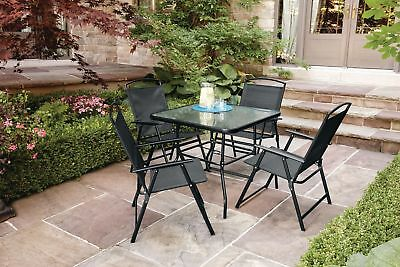 5-Piece Sling Folding Dining Set Table and Chairs