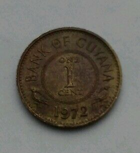 Guyana 1 Cent 1972. One cent coin.