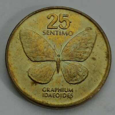 Philippines 25 Sentimo 1991. 25 cents coin. Butterfly. Quarter Dollar coin.