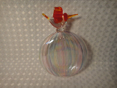 Hand Blown Glass Christmas Ornament Clear With Bird On Top
