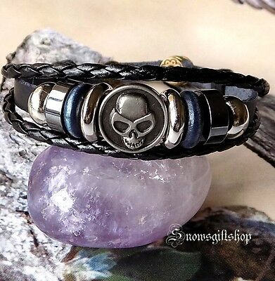 Men's Cool Alien Metal Highlight Leather Hemp Surfer Biker Bracelet Wristband