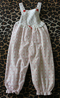 VINTAGE BABY ~ 60's 70's Girls White & Red Yacht Print Summer Overalls ~ 1 - 2