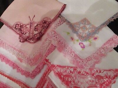 Lot of 12 Vintage Fancy Pink Crochet & Tatted  lace hankies tatted butterfly