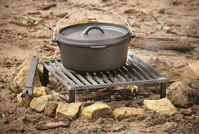 Guide Gear Cast Iron Heavy Duty Camp BBQ Grill for Outdoor Fire Cooking Grilling